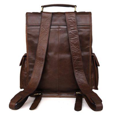 Unisex Vintage Leather Backpack Laptop School College Bookback-Back