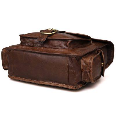 Unisex Vintage Leather Backpack Laptop School College Bookback-Bottom