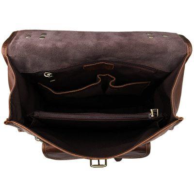 Unisex Vintage Leather Backpack Laptop School College Bookback-Inside