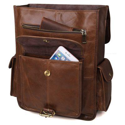 Unisex Vintage Leather Backpack Laptop School College Bookback-Pocket