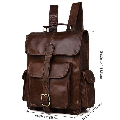 Unisex Vintage Leather Backpack Laptop School College Bookback-Size