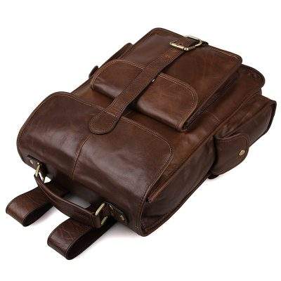 Unisex Vintage Leather Backpack Laptop School College Bookback-Top