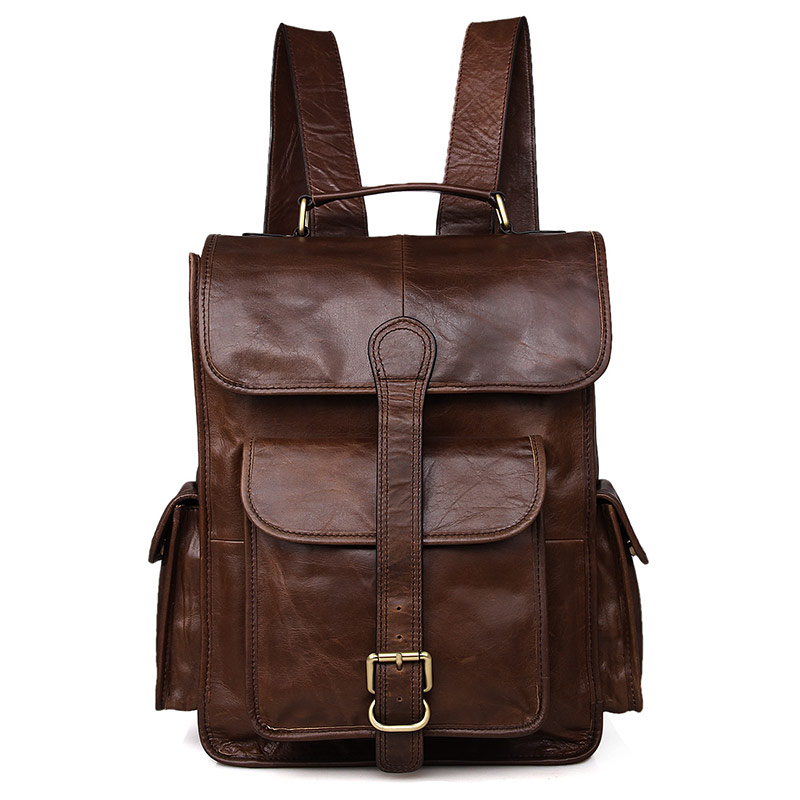 Unisex Vintage Leather Backpack Laptop School College Bookback