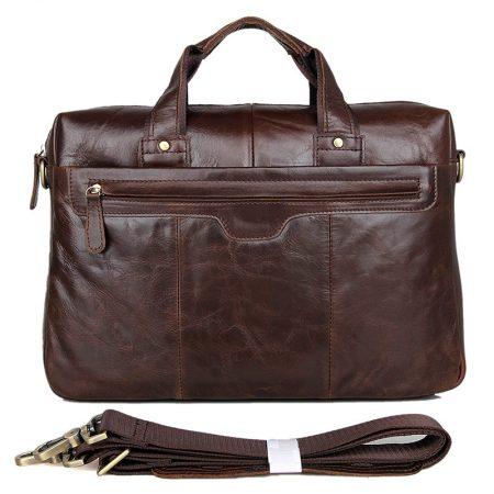 Vintage Leather Briefcase Laptop Messenger Bag with Removable Shoulder Strap