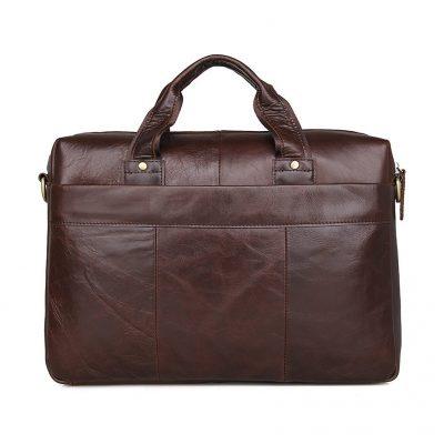 Vintage Leather Briefcase Laptop Messenger Bag with Removable Shoulder Strap-Back