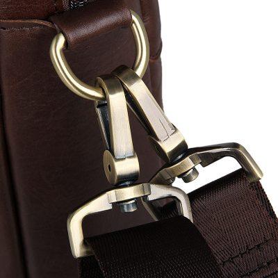 Vintage Leather Briefcase Laptop Messenger Bag with Removable Shoulder Strap-Hardware