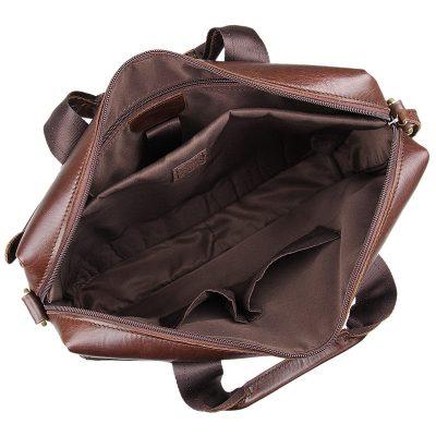Vintage Leather Briefcase Laptop Messenger Bag with Removable Shoulder Strap-Inside