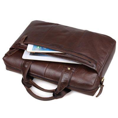 Vintage Leather Briefcase Laptop Messenger Bag with Removable Shoulder Strap-Pocket