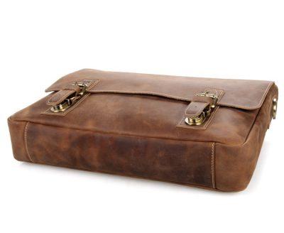 Vintage Leather Messenger Bag in Brown with Adjustable Shoulder Strap-Bottom