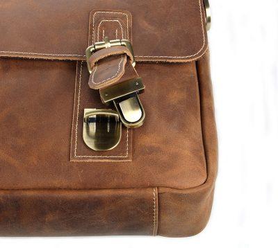 Vintage Leather Messenger Bag in Brown with Adjustable Shoulder Strap-Buckle