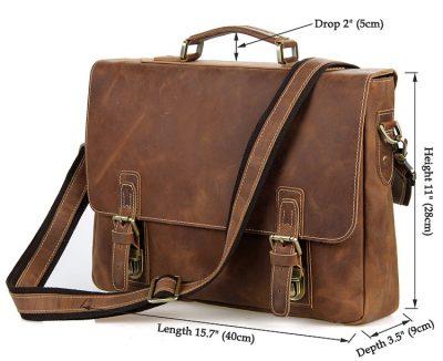 Vintage Leather Messenger Bag in Brown with Adjustable Shoulder Strap-Size