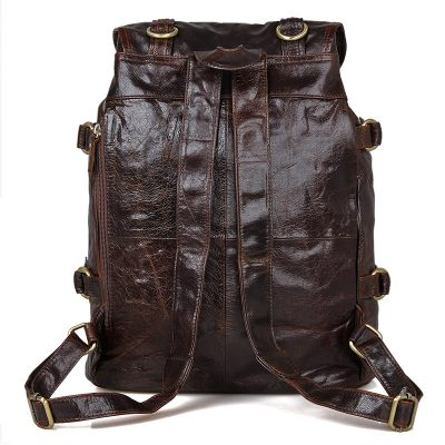 Vintage Leather Travel Backpack For Men-Back