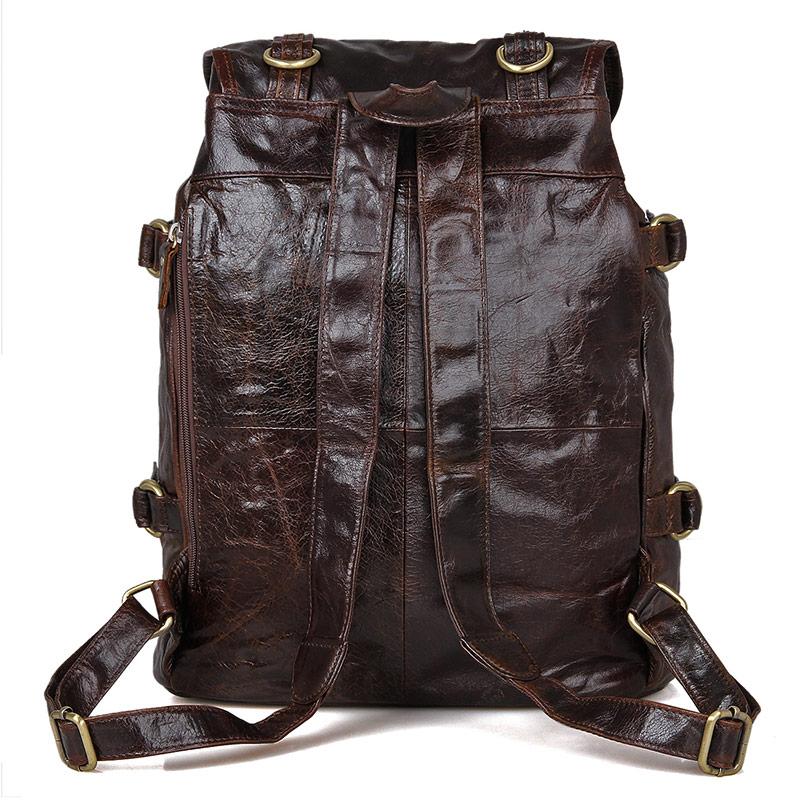 Vintage Leather Travel Backpack For Men