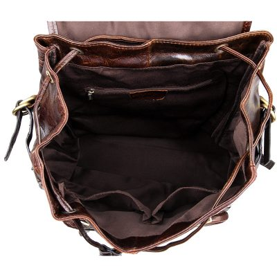 Vintage Leather Travel Backpack For Men-Inside