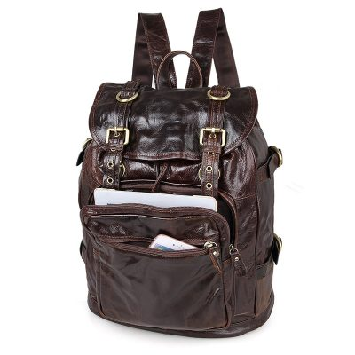 Vintage Leather Travel Backpack For Men-Pocket