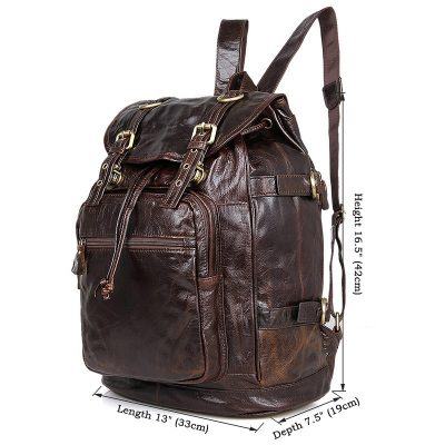 Vintage Leather Travel Backpack For Men-Size