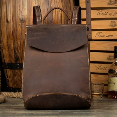 leather backpack laptop bag