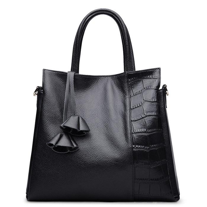 BBY Leather Shoulder Handbag - Black
