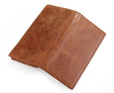 Brown Fashion Genuine Leather Long Wallet-Back