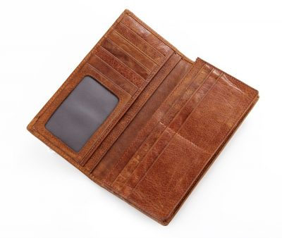 Brown Fashion Genuine Leather Long Wallet-Inside