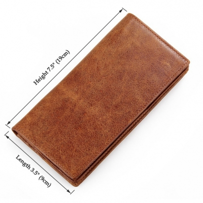 Brown Fashion Genuine Leather Long Wallet-Size