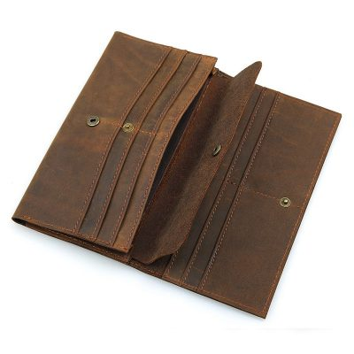 Crazy Horse Leather Wallet, Cowhide Wallet for Men-Inside
