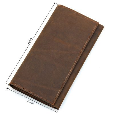 Crazy Horse Leather Wallet, Cowhide Wallet for Men-Size