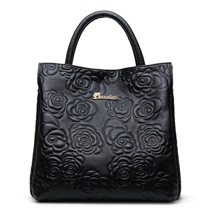 GYG Leather Hobo Handbag - Black
