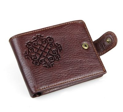 Genuine Leather Wallet Card Holder-Button