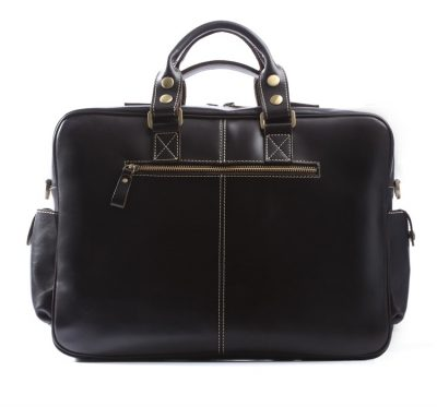 Handmade Leather Briefcase, Leather Travel Bag, Weekend Bag-Back