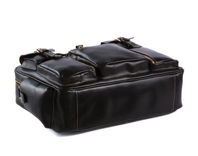 Handmade Leather Briefcase, Leather Travel Bag, Weekend Bag-Bottom