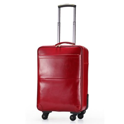 Red Leather Travel Bag for Women