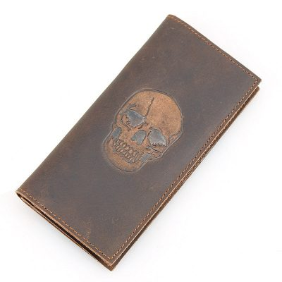 Skull Pattern Leather Wallet, Vintage Leather Long Wallet for Wen