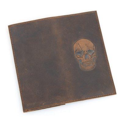 Skull Pattern Leather Wallet, Vintage Leather Long Wallet for Wen-Back