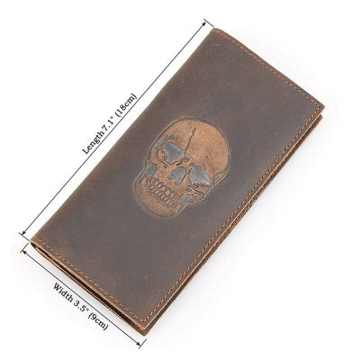 Skull Pattern Leather Wallet, Vintage Leather Long Wallet for Wen-Size