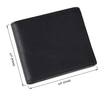 Soft Black Leather Wallet, Genuine Leather Wallet for Men-Size
