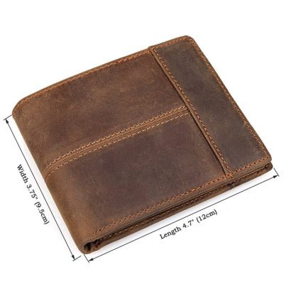 Vintage Leather Wallet, Crazy Horse Leather Wallet-Size