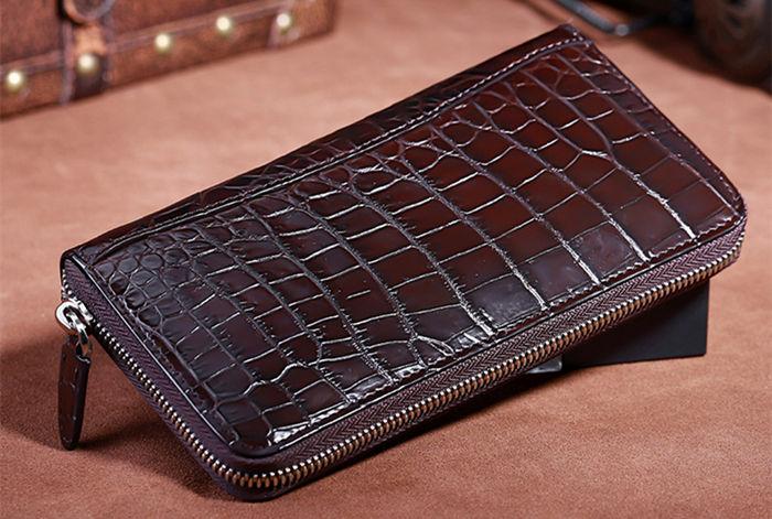 Dark brown crocodile wallet