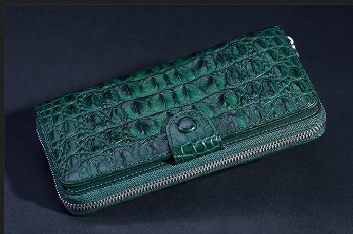 Dark green crocodile wallet