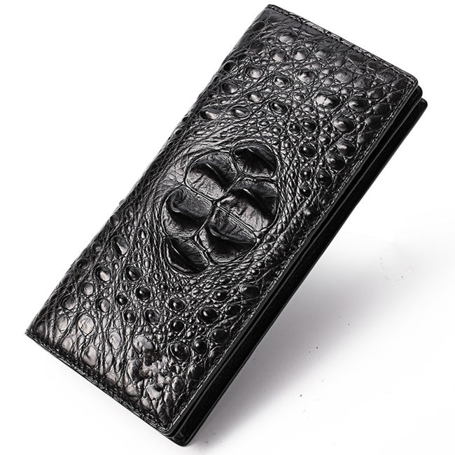 Long Black Crocodile Wallet