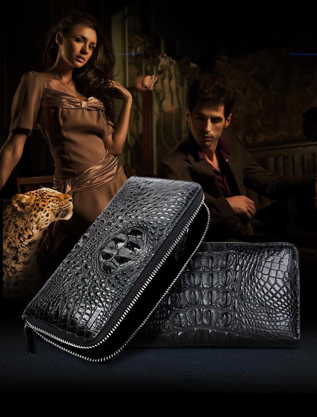 crocodile head leather wallet