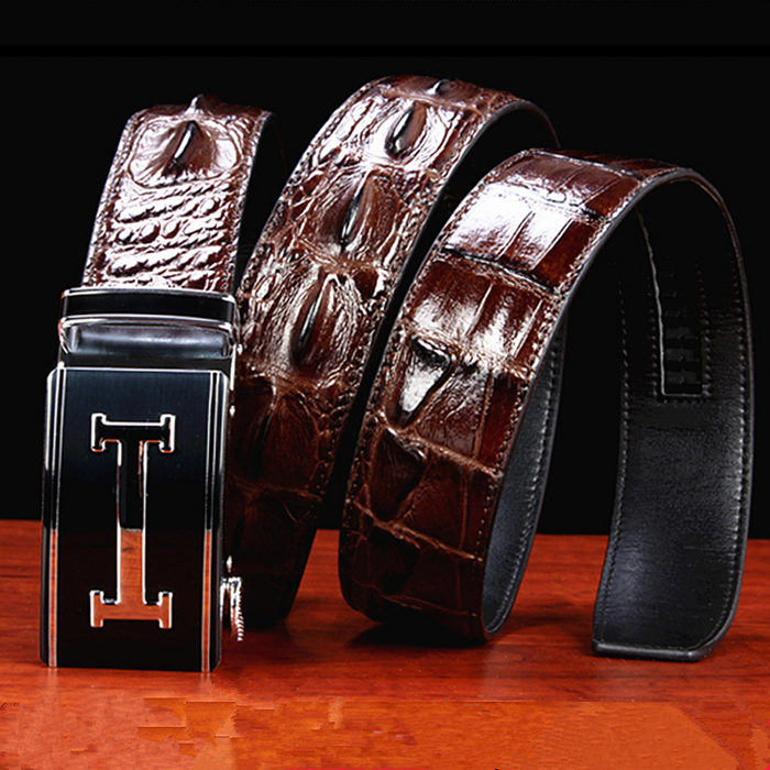 Crocodile Leather Belt for Blue Pants