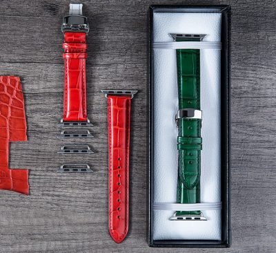 Genuine Alligator & Crocodile leather Apple Watch Bands Straps-Green and Red-Display