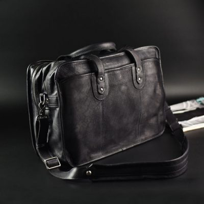 Handmade Vintage Leather Briefcase Messenger Bag for Men-Black d09ab62afcbf7