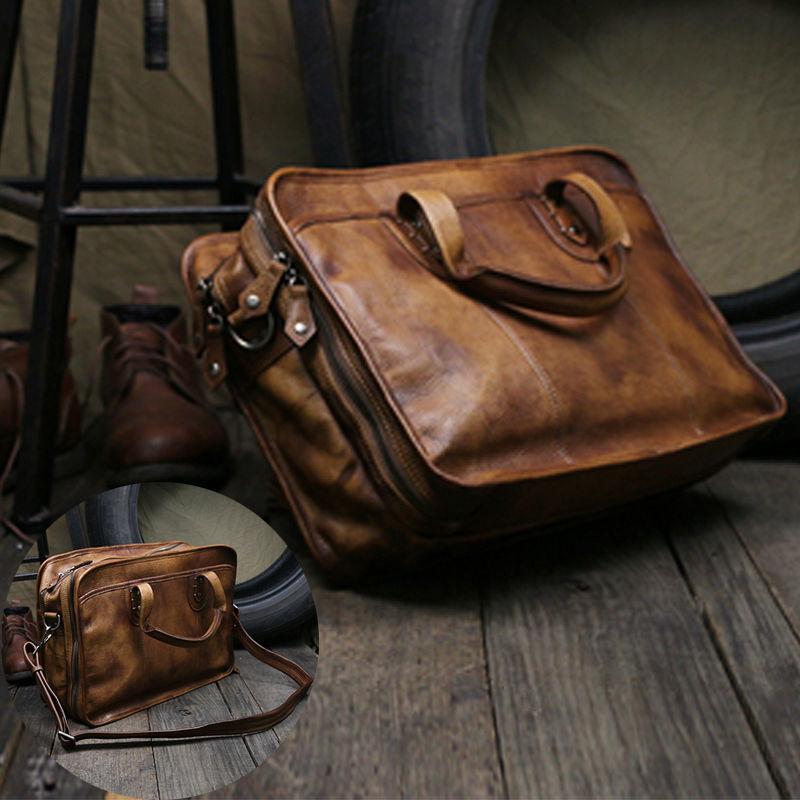Handmade Vintage Leather Briefcase Messenger Bag for Men 37ea3eb13215c