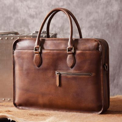 Luxury Vintage Leather Briefcase Shoulder Laptop Business Bag for Men-Brown