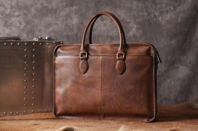 Luxury Vintage Leather Briefcase Shoulder Laptop Business Bag for Men-Brown-Back