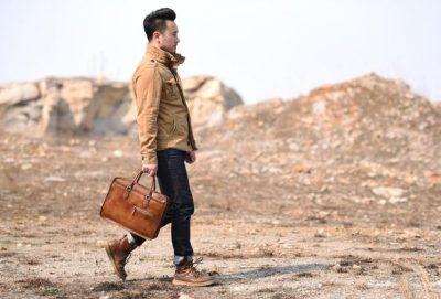 Luxury Vintage Leather Briefcase Shoulder Laptop Business Bag for Men-Brown-Display