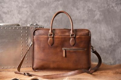Luxury Vintage Leather Briefcase Shoulder Laptop Business Bag for Men-Brown-Front