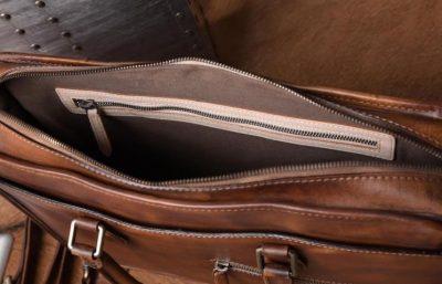 Luxury Vintage Leather Briefcase Shoulder Laptop Business Bag for Men-Brown-Inside